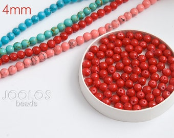 Red coral beads 4mm Coral beads Red beads for jewelry Beads jewelry supply Synthetic beads / 20 beads About 3-4 cm