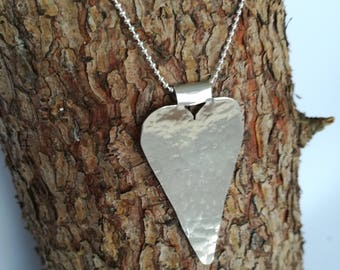 Silver heart pendant, gifts for her, silver heart necklace, everyday silver necklace. Heart necklace. Heart pendant.