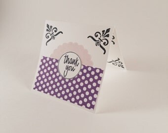 Thank You Card / Purple with White Polka Dots