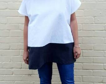 White & Black Oversized Colour Block Top