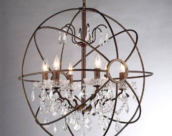 Sphere Crystal with Shade 5 Light Chandelier
