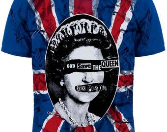 """T-shirt Sex Pistols """"God save the Queen"""" (Blue T-shirt)"""