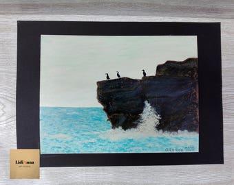 THREE THOUGHTFUL. Oil painting. Original.