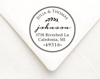 Personalized Circle Address Stamp, , Personalized Rubber Stamp, Custom Wedding Stamp, Housewarming, Wedding Gift