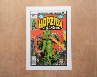 Hopzilla - King of Beer Monsters - A3 Craft Beer Print - 300gsm Digital Art Print