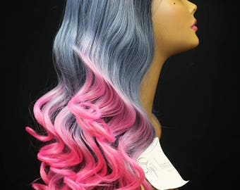 """FELICITY : 26"""" High Quality Lace Front Wig - Heat Safe Synthetic Hair with soft loose spiral curls in Ombre Black Root Gray and Pink"""
