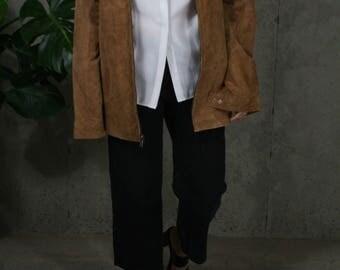 suede oversized jacket / brown suede jacket / minimalist leather bomber / m / l / xl / xxl