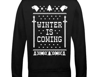 Inspired Winter coming and play the Game to get to the Throne Ugly Sweater LONG SLEEVE Shirt Funny Christmas Printed Adult Sweatshirts
