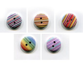 buttons 4 striped * 15mm * wood * pattern