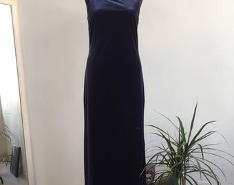 Vintage Long Blue Velvet Dress