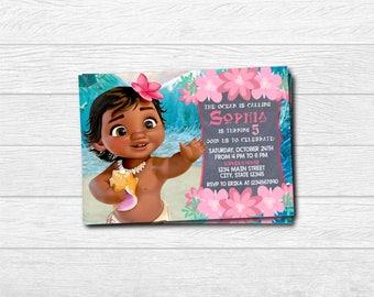 Moana Printed Invitation, Moana Invite, Baby Moana Printed Invitation, Moana, Moana , Moana , Moana Printable, Baby Moana Invite, Baby Moana