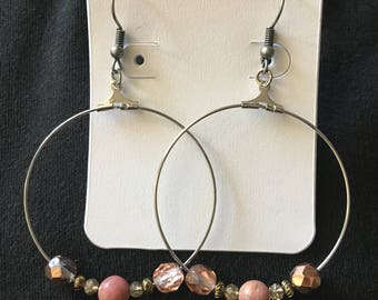 Dangle hoop earrings with rose and gold accent beads