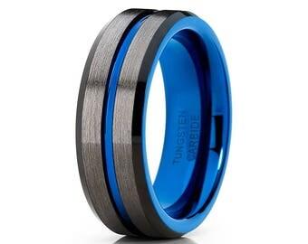 Gunmetal Tungsten Wedding Band Blue Tungsten Wedding Band Black Tungsten Band Tungsten Carbide Ring Men & Women Brush