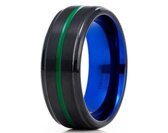 Green Tungsten Wedding Band Black Tungsten Ring Blue Tungsten Ring Men & Women Black Tungsten Ring Comfort Fit Brush Ring