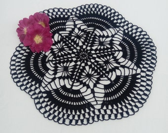 New black crochet doily - black doily