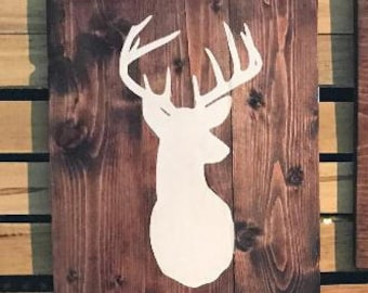 Wood sign with Deer silhouette