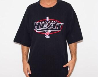 Miami Heat, 90s T-shirt, Basketball, NBA, Sports, Vintage Athletic, Logo, Tumblr, 90s Shirts Tumblr, Black Tshirt, Tee Mens Large