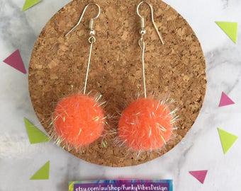 Pom Pom Earrings in Orange • Handmade • Funky • Colourful earrings • Unique