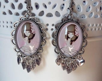 cabochon earrings silver and pink