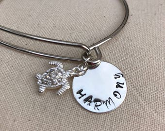 Bling Turtle Charm, Hand-stamped silver Bangle