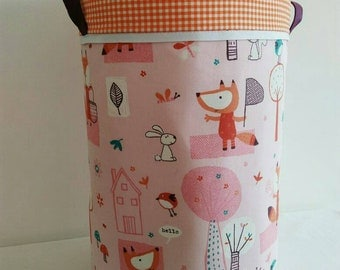 "Large basket for storage or laundry ""Fox and friends"" basket approximately 50 x 30 cm"