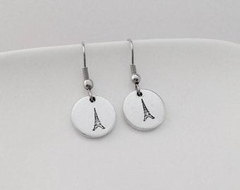 Eiffel tower dangle earrings, Simple earrings, France lover, Paris lover, Paris Je t'aime, Gift for women, Birthday Gift, Valentines Day