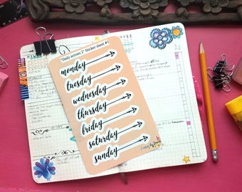 Daily arrows, days of the week planner stickers for bullet journals, Happy Planner, Erin Condren, and more