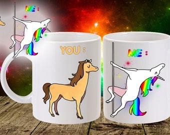 unicorn mug - pole dancing design - 11oz size
