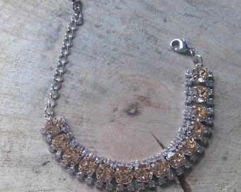 Light Peach & crystal halo 14 setting bracelet