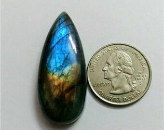 43.35 x 17.85 mm,Pear Shape/Tear Drop Labradorite Cobochon/multy Flash/ for wire wrap stone/Super Shiny/Pendant Cabochon/Semi Precious Gemst
