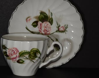 JOHNSON BROS IRONSTONE enchantment Snowhite Regency Teacup and saucer, gold trim, Bone China, Pink roses on leaves,  England, romantic