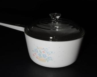 CORNING WARE, Vintage,  Country Cornflower, 1.5 L Casserole pan, Glass Lid, Covered, Casserole Dish, 1980s, Pyroceramic, Pyrex lid, uncommun