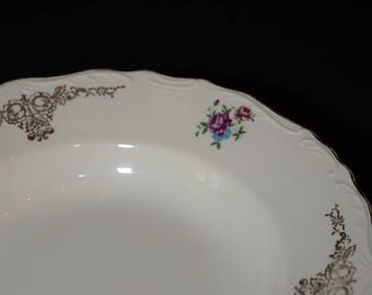 PAGNOSSIN TREVISO Italy, Deep plate, Soup plate, Bone China, Made in Italy, Gold roses, red & blue floral, embossed details, gold edge