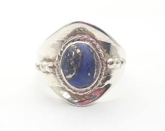 Sterling Silver Lapis Ring/Free Shipping US/Handmade/Vintage Lapis Lazuli/September Birthstone/Christmas/Birthday/Valentine/Friendship Ring