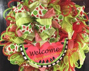 Summer wreath, watermelon wreath, front door wreath, deco mesh wreath, best door wreath