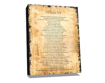 Wall decor, Bible verses on canvas, bible verses wall decor, Psalm 91, Wall Art