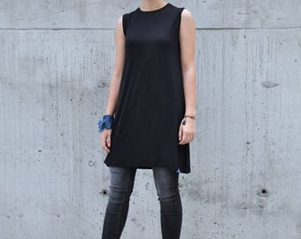 Sleeveless Tunic, Minimalist Tunic, Sleeveless Top, Loose Top, Mid-Length Tunic, Black Tunic, Tank Top, Elegant Top to Combine