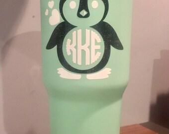 Custom Yeti/Artic-Like Tumbler - Penguin Monogram