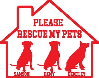 Pet fire safety decal