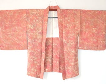 Authentic Japanese Silk Vintage Haori Kimono Jacket Salmon Pink Rose