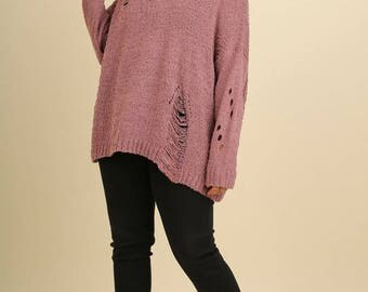 Distressed Sweater - Plus