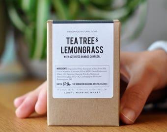 Tea Tree & Lemongrass with Charcoal | Cold Process Soap Bar