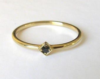 Round Diamond Black Ring, Diamond Engagement Ring, Black Diamond, Solitaire Black Diamond, Simple Black Ring, Wedding Ring, Yellow Gold