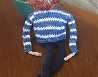 Hand knitted doll/mascot/desk buddy.  Totally unique and individual