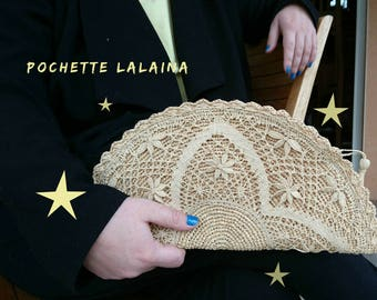 Hook and raffia crochet and lace clutch lace raffia clutch bag