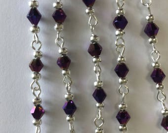 chain 55cm / 4mm metallic purple glass beads