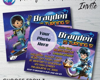 Miles from Tomorrowland Invitation, Miles from Tomorrowland Birthday Party, Miles from Tomorrowland Photo Invitation, Miles Tomorrowland