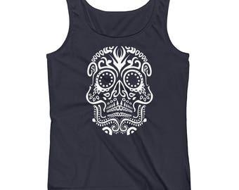 Tribal VooDoo Day Of The Dead Halloween Skull Print Ladies' Tank Top