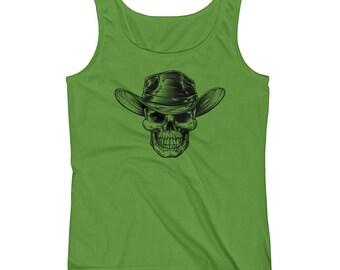 Country Cowboy Skull Print Halloween Scary Ladies' Tank Top