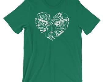 American Patriot 2nd Amendment Gun Lover Gun Rights Heart Shaped Handgun Short-Sleeve Unisex T-Shirt
